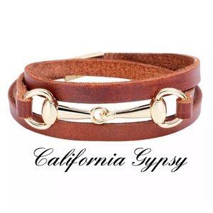 Western Cowgirl Horse Bit Leather Bracelet